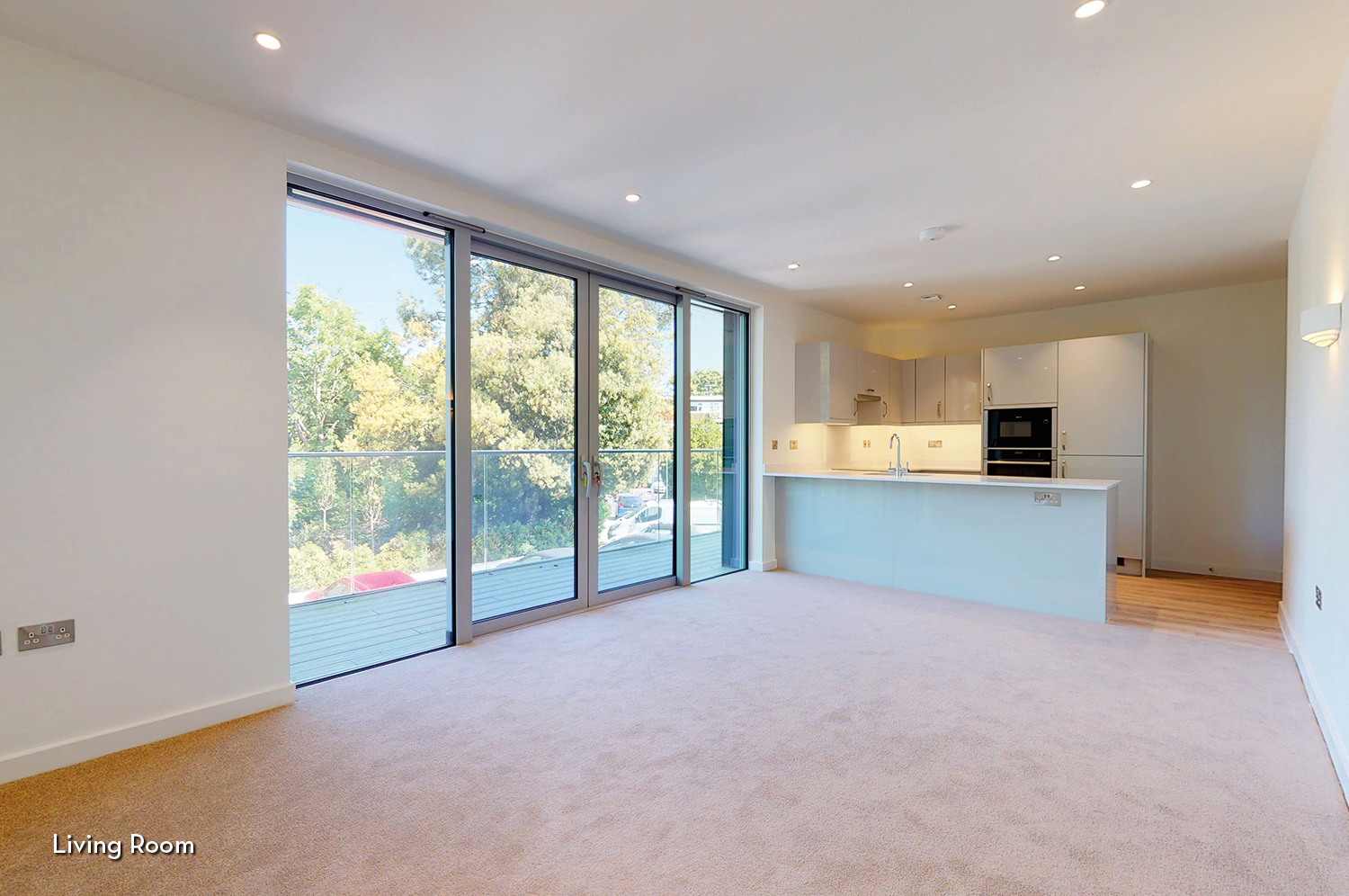 Open plan living in a platinum skies apartment