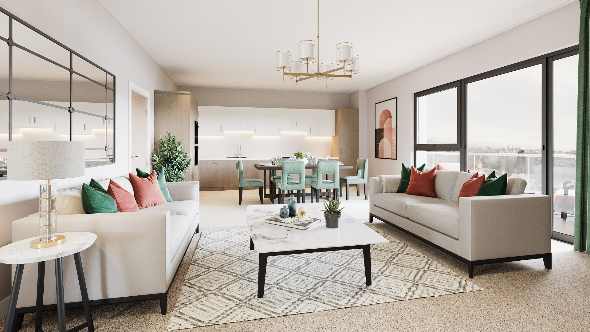 Taunton - An artist's impression of a lounge in an apartment at Quantock House